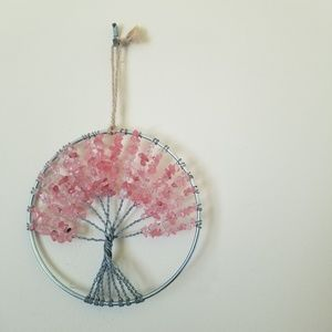 Tree Of Life Stone Pink Ornament Art Decor